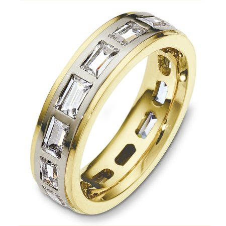 Item # C131701 - 14 Kt Two-tone diamond eternity wedding band, 5.5 mm wide, comfort fit band. It holds approximately 2.80 ct tw baguette cut diamonds, VS in clarity and GH in color. The finish on the ring is polished. Other finishes may be selected or specified.