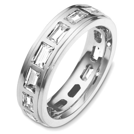Item # C131701W - 14 Kt White gold diamond eternity wedding band, 5.5 mm wide, comfort fit band. It holds 2.80 ct tw diamonds, VS in clarity and GH in color. The finish on the ring is polished. Other finishes may be selected or specified.
