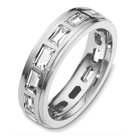 Item # C131701WE - 18 Kt White gold diamond eternity wedding band, 5.5 mm wide, comfort fit band. It holds 2.80 ct tw diamonds, VS in clarity and GH in color. The finish on the ring is polished. Other finishes may be selected or specified.