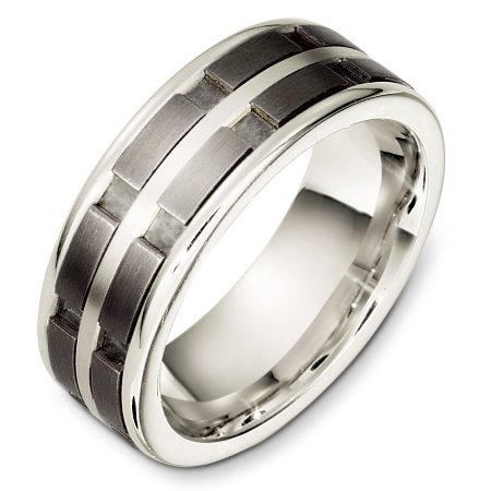 Item # C132971TE - Titanium and 18 kt White gold wedding band, 8.0 mm wide, comfort fit wedding band. The center of the band is matte and the outer edges are polished. Other finishes may be selected or specified.