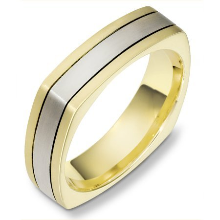 Item # C133171E - 18 Kt Two-tone wedding band, 6.0 mm wide, comfort fit wedding band. The band is squared and has rounded edges to give a comfort fit. The finish on the ring is matte. Other finishes may be selected or specified.