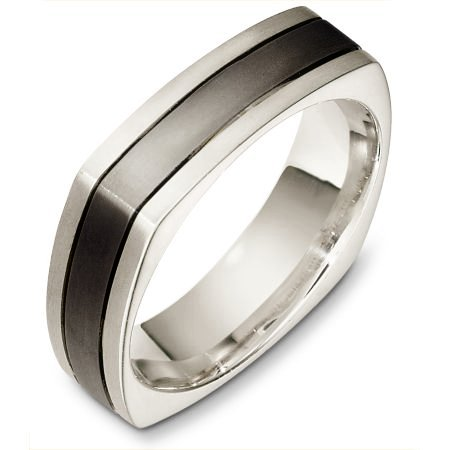 Item # C133171TE - Titanium and 18 Kt White gold wedding band, 6.0 mm wide, comfort fit wedding band. The band is squared and has rounded edges for a comfort fit. The finish on the ring is matte. Other finishes may be selected or specified.