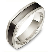 Item # C133171TG - Titanium-White Gold Square Wedding Band
