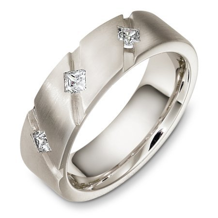Item # C133281W - 14 Kt White gold diamond wedding band, 7.0 mm wide, comfort fit. It holds 3 princess cut diamonds that weigh 0.36 ct tw, VS in clarity and GH in color. The finish on the ring is matte. Other finishes may be selected or specified.