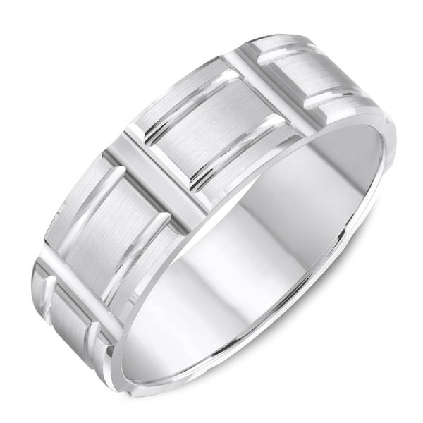 Item # C13726PP - Platinum, carved, comfort fit wedding band. The ring is 7.0 mm wide and about 1.7 mm thick. Grooves are polished and the rest is matte. Different finishes may be selected.