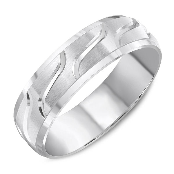 Item # C13731W - 14kt white gold, carved, comfort fit wedding ring. The ring is 6.0 mm wide and about 1.65 mm thick. Ring has a mix of polished and matte finishes. Different finishes may be selected.