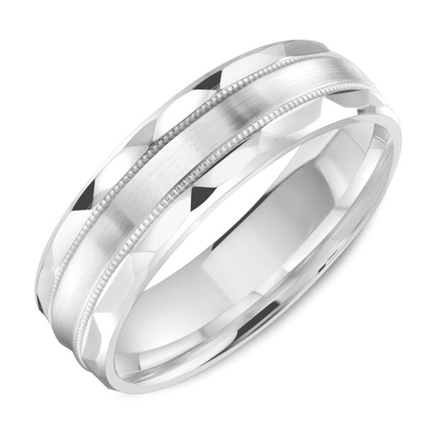 Item # C13734WE - 18kt white gold, classic, milgrain, comfort fit wedding band. The ring is 6.0 mm wide and about 1.65 mm thick. Edges are polished and the center is matte. Different finishes may be selected.