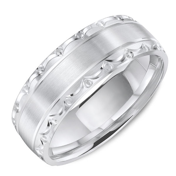 Item # C13735PP - Platinum, carved, classic, comfort fit wedding ring. The ring is 7.0 mm wide and about 1.75 mm thick. Grooves are polished and the rest is matte. Different finishes may be selected.