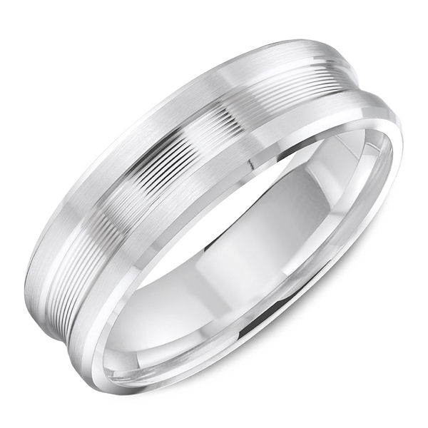 Item # C13744WE - 18kt white gold, classic comfort fit men's wedding band. The ring is 6.0 mm wide and about 1.65 mm thick. The center lined portion of the ring is set slightly lower than the edges. The ring is all polished. Different finishes may be selected.