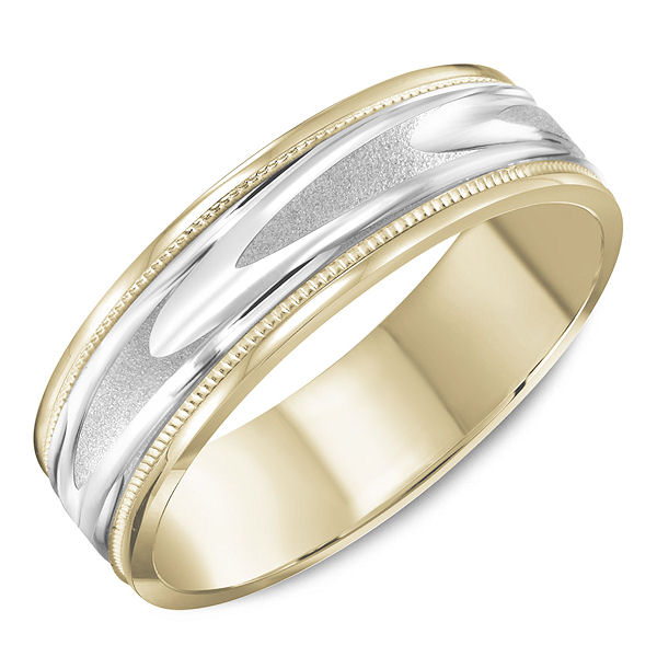 Item # C13745 - 14kt two-tone gold, comfort fit, milgrain wedding ring. The white gold in the center has a matte finish and the rest is polished. The ring is 6.0 mm wide and about 1.65 mm thick. Different finishes are available. Please select the type of finish.