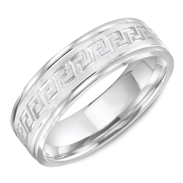 Item # C13746PP - Platinum, greek key, carved, comfort fit wedding band. The ring is 6.0 mm wide and about 1.65 mm thick. The edges and carved design are polishe and the center is matte. Different finishes may be selected.