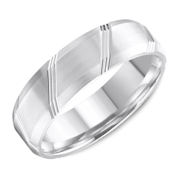 Item # C13748W - 14kt white gold, comfort fit, carved wedding band. The ring is about 6.0 mm wide and 1.65 mm thick. It has a mix of polished and matte finish. Different finishes may be selected. Please select the type of finish.