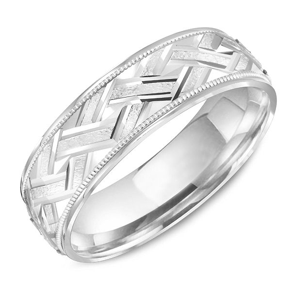 Item # C13751PP - Platinum, carved, comfort fit milgrain wedding ring. The ring is 6.0 mm wide and about 1.7 mm thick. Center portion of the ring is brushed and the carved & edges are polished. Different finishes may be selected.