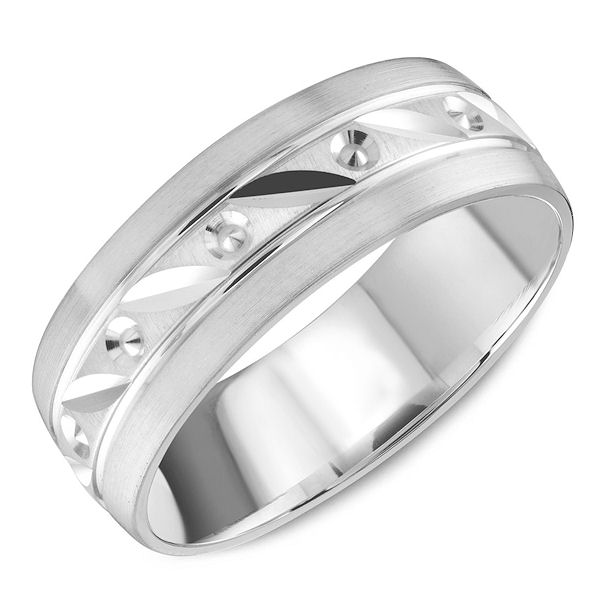 Item # C13756W - 14kt white gold carved classic, comfort fit wedding band. The ring has a mix of polished and matte finishes. Outer edges are a matte finished and the center portion is polished. Different finishes may be selected.