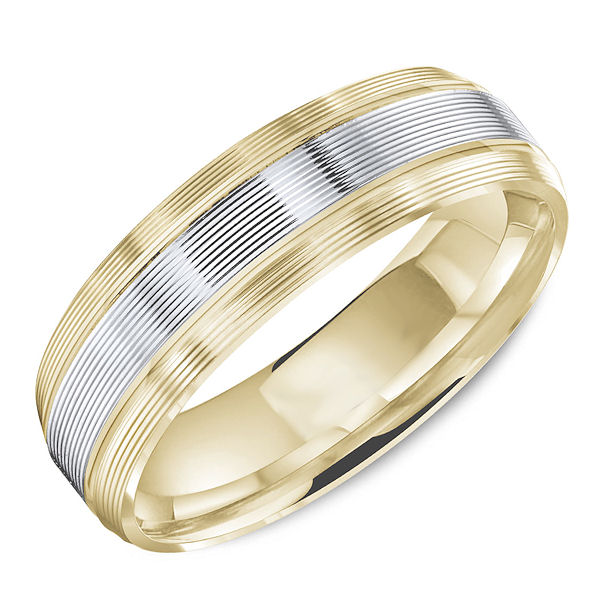 Item # C13757E - 18kt two-tone carved lined, comfort fit wedding band. The ring is 6.0 mm wide and about 1.8 mm thick. It is all polished. Different finishes may be selected.