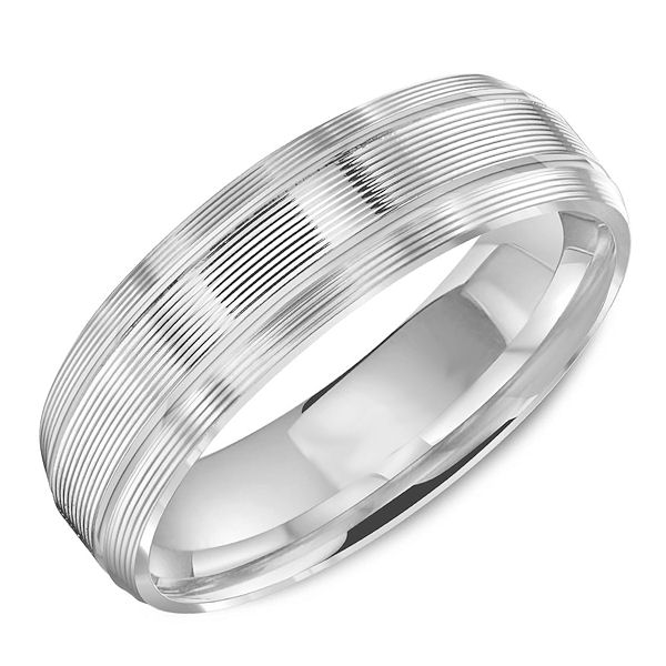 Item # C13757WE - 18kt white gold carved lined, comfort fit wedding band. The ring is 6.0 mm wide and about 1.8 mm thick. It is all polished. Different finishes may be selected.