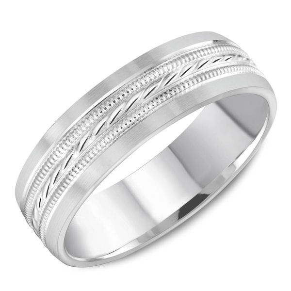 Item # C13760W - 14kt white gold, patterned, comfort fit, milgrain wedding band. The ring is 6.0 mm wide and about 1.65 mm thick. Ring is all polished. Different finishes may be selected.