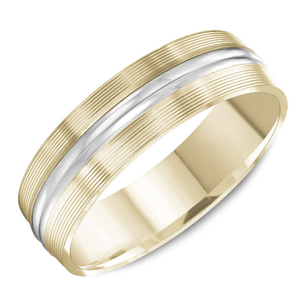 Item # C13765 - 14kt two-tone gold, comfort fit, classic wedding ring. The ring is 6.0 mm wide and about 1.65 mm thick. The outer portion has carved lines and the center is polished. Different finishes may be selected.