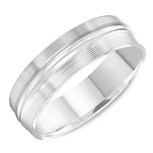Item # C13765WE - 18kt white gold, comfort fit, classic wedding ring. The ring is 6.0 mm wide and about 1.65 mm thick. The outer portion has carved lines and the center is polished. Different finishes may be selected.