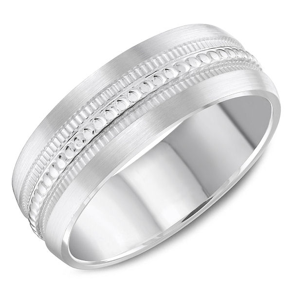 Item # C13767PP - Platinum, patterned comfort fit wedding ring. The ring is 7.0 mm wide and about 1.8 mm thick. Edges are matte and the design portion is polished. Different finishes may be selected.