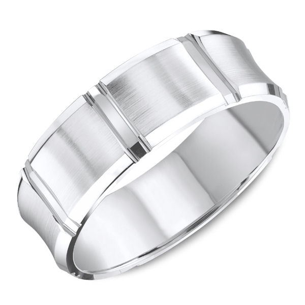 Item # C137694WE - 18kt white gold carved beveled, comfort fit wedding band. The ring is 7.0 mm wide and about 1.7 mm thick. The edges of the ring are beveled and polished. There is a mix of matte and polished finish on the ring. Different finishes may be selected.
