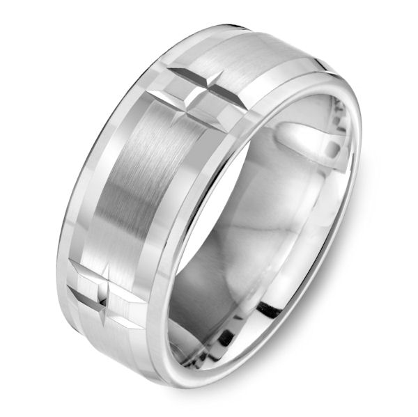 Item # C15082C - Cobalt chrome, 9.0 mm wide, comfort fit wedding ring. The ring has a mix of brushed and polished finishes. Other finishes may be selected.