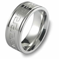 Item # C15085C - Cobalt Chrome Greek Keys Wedding Ring