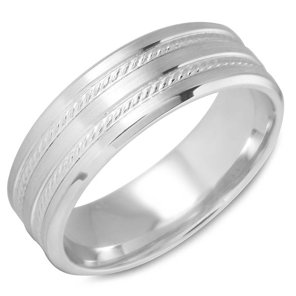 Item # C15181PP - Platinum, carved rope design, comfort fit wedding band. The ring is all polished, 7.0 mm wide and about 1.7 mm thick. Different finishes may be selected.
