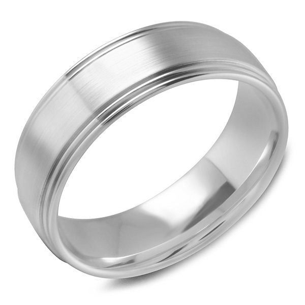 Item # C15185PP - Platinum, classic, comfort fit men's wedding band. The ring is about 7.0 mm wide and about 1.7 mm thick. Edges are polished and the center is a matte finish. Different finishes may be selected.