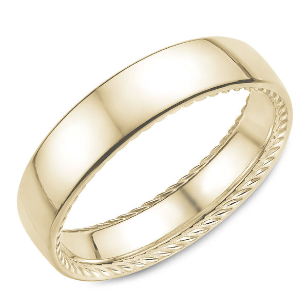 Item # C5804E - 18kt yellow gold, comfort fit, rope designed band. Inside the rim of the ring is a carved rope design. The ring is 6.0 mm wide and about 1.8 mm thick. It is all polished. Different finishes may be selected