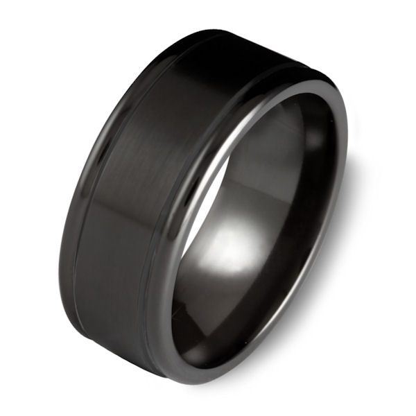 Item # C7699C - Black cobalt chrome, classic, 9.0 mm wide wedding ring. The ring has a matte finish. Other finishes may be selected