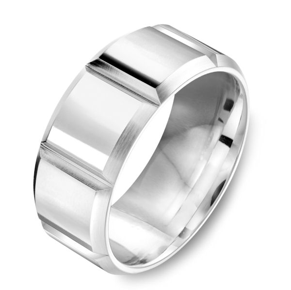 Item # C7786C - Cobalt chrome contemporary, 9.0 mm wide wedding ring. The ring has a polished finish. Other finishes may be selected.