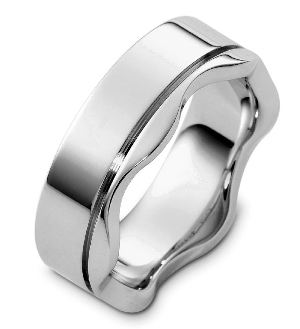 Item # C8108WE - 18K white gold, 7.0mm wide, comfort fit, contemporary wedding band.