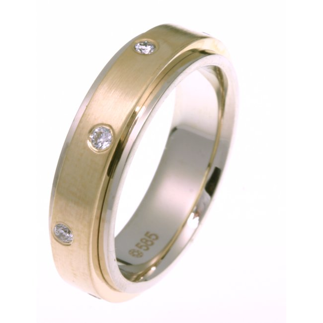 Item # DR3085E - 18 K two-tone center rotating, 6.0 mm wide diamond spinning wedding band. Diamond total weight is 0.24 ct in size six. Diamonds are graded as VS in clarity H in color. The finish in the center of the ring is matte and the outer edges are polished. Other finishes may be selected or specified.