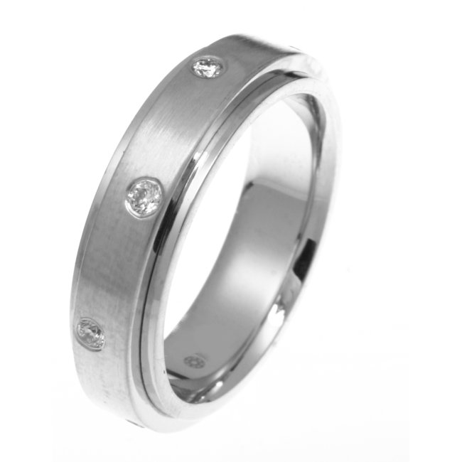 Item # DR3085WE - 18K white gold, 6.0 mm wide, comfort fit diamond wedding band. Diamond total weight is 0.24 ct and are graded as VS2 in clarity, G-H in Color. The finish in the center of the ring is matte and the outer edges are polished. Other finishes may be selected or specified.