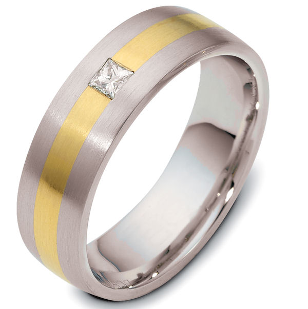 Item # E115101E - 18K two-tone 6.0 mm wide, comfort fit, diamond band. Diamonds total weight is 0.05 ct and are graded as VS1 in Clarity G in Color. The finish on the ring is matte. Other finishes may be selected or specified.
