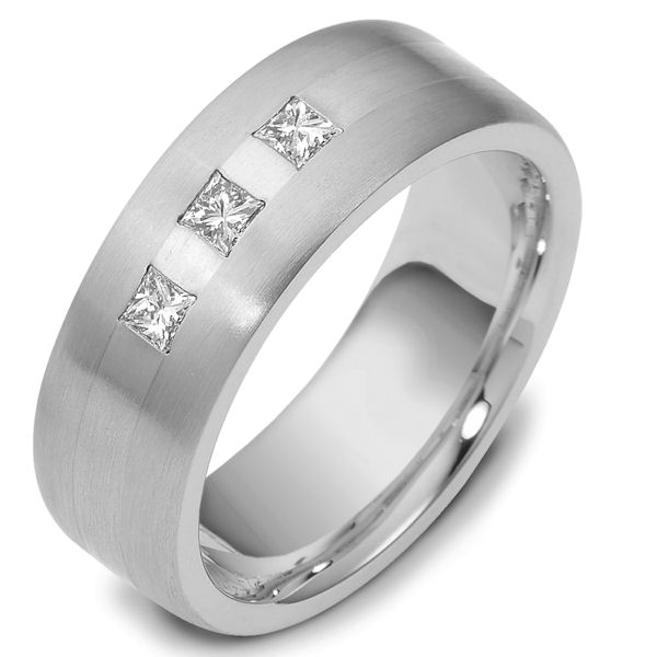 Item # E117751WE - 18Kwhite gold, 7.5 mm wide, comfort fit, 0.39 ct total weight diamond ring. Diamonds are graded as VS1 in clarity G-H in color. The finish on the ring is matte. Other finishes may be selected or specified.