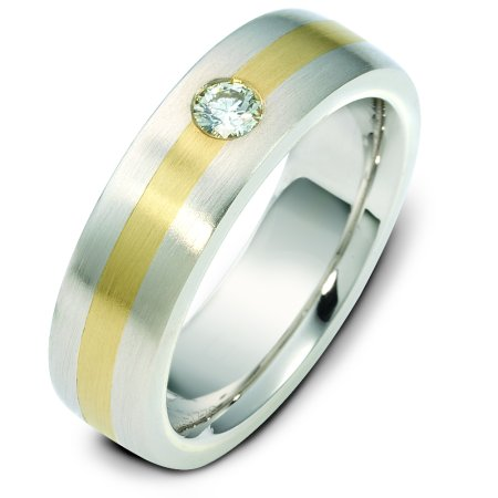 Item # E117781E - 18 k yellow and white gold, two tone, 6.0 mm wide, comfort fit wedding band. The diamond weighs 0.17 ct and graded as VS in clarity G in color. The finish on the ring is matte. Other finishes may be selected or specified.
