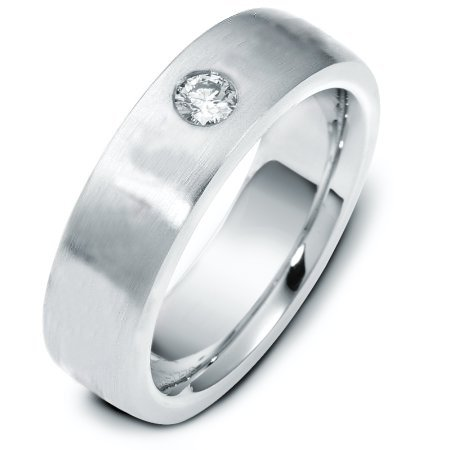 Item # E117781WE - 18 k white gold, 6.0 mm wide, comfort fit wedding band. The diamond weighs 0.17 ct and graded as VS in clarity G in color. The finish on the ring is matte. Other finishes may be selected or specified.