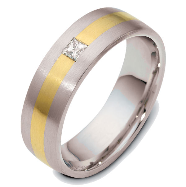 Item # E119361E - 18K yellow and white gold 7.0 mm wide, diamond ring. Diamond weighs 0.13ct. The diamond is graded as VS1 in Clarity G in Color. The finish on the ring is matte. Other finishes may be selected or specified.