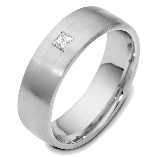 Item # E119361WE - 18K white gold 7.0 mm wide, diamond ring. Diamond weighs 0.13ct. The diamond is graded as VS1 in Clarity G in Color. The finish on the ring is matte. Other finishes may be selected or specified.