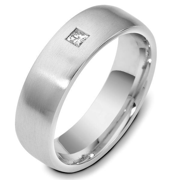 Item # E119811WE - 18K White gold, 6.5 mm wide, comfort fit, 0.10 ct princess cut diamond ring. The diamond is VS1 in clarity G-H in color. The finish on the ring is brushed. Other finishes may be selected or specified.