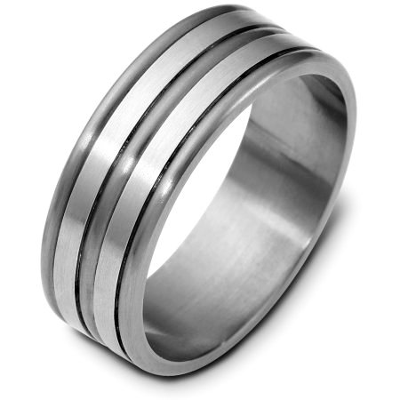 Item # E121821TG - Titanium and 14 Kt White gold wedding band, 7.5 mm wide, comfort fit wedding band. The finish on the ring is matte. Other finishes may be selected or specified.