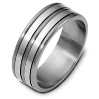 Item # E121821TG - Titanium and 14 Kt White Gold Wedding Band