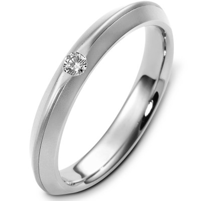 Item # E124981W - 14K white gold, 4.0 mm wide, 2.5 mm thick, comfort fit, diamond wedding band. Diamond is 0.08 ct and VS in clarity G-H in color.