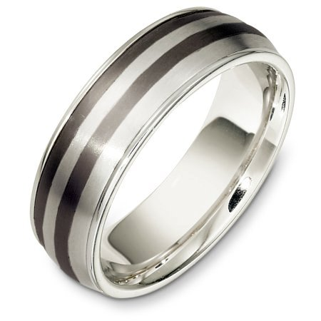 Item # E133221TE - Titanium and 18 Kt White gold wedding band, 7.0 mm wide, comfort fit wedding band.