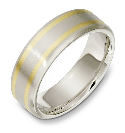 Item # E133301PE - Platinum and 18 K yellow gold, comfort fit, 7.0 mm wide wedding band. The band is satin finished. Other finishes may be selected or specified.