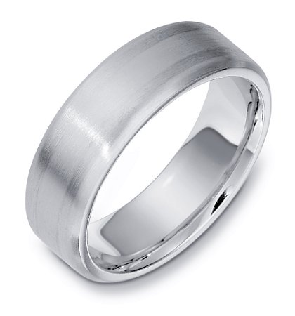 Item # E133301WE - 18K white  gold, comfort fit, 7.0 mm wide wedding band. The ring is satin finished. The wedding band may be finished to your specifications.