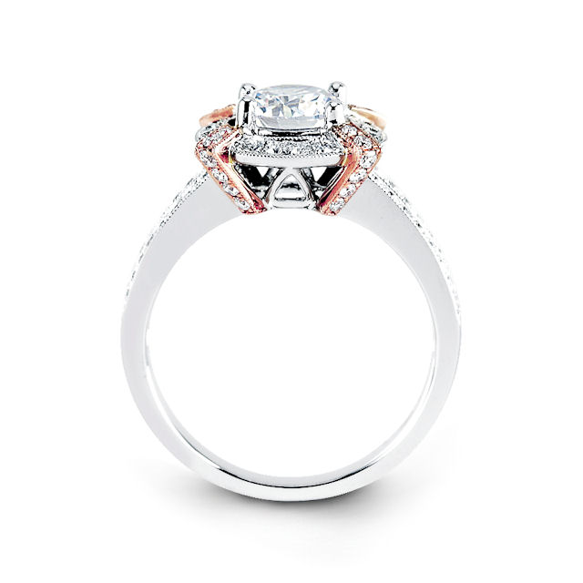 Item # E31946 View 2 - Vintage Rose & White Gold Halo Engagement Ring