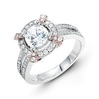 Item # E31946E - Vintage Rose & White Gold Halo Engagement Ring